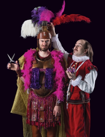 Nathan Cotell (left) and Kazz Leskard (right) stars as Titus Andronicus and William Shakespeare, respectively.